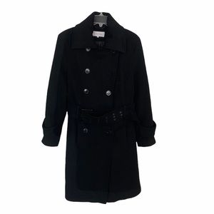 Calvin Klein Black 100% Wool Double-Breasted Belted Trench Coat